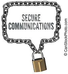 grens, communicatie, ketting, bevestigen, slot
