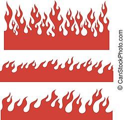 grens, communie, vlam, rood, eindeloos