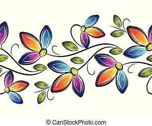grens, floral, kleurrijke, seamless, zich verbeelden, vector