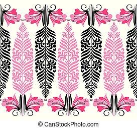 grens, floral, seamless, zich verbeelden, vector