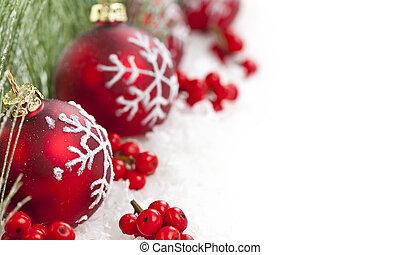 grens, kerstballen, rood