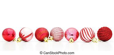 grens, kerstmis, rood, bauble