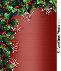 grens, kerstmis, rood, satijn, hulst