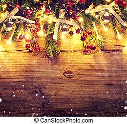 grens, kunst, ontwerp, met, kerstboom, baubles, en, licht, guirlande