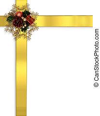 grens, linten, kerstmis, goud