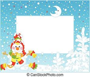grens, met, een, kerstmis, sneeuwpop