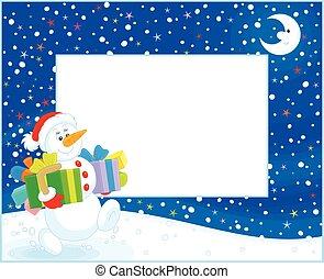 grens, met, kerstmis, sneeuwpop