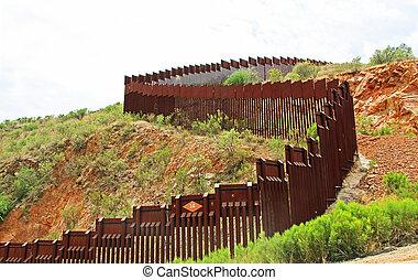 grens, omheining, scheiden, de, ons, van, mexico, dichtbij,...