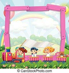 grens, ontwerp, met, kinderen, op, de, trein