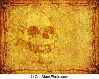 grens, oud, achtergrond, schedel, perkament