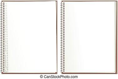 grens, papier, notepad, spiraal
