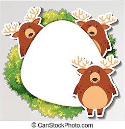 grens, ronde, deers, drie