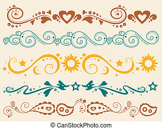 grens, silhouette, spandoek, gekleurde