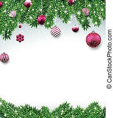 grenverk, bakgrund, gran, jul, balls.