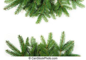 grenverk, bakgrund., träd, above., vit jul, synhåll
