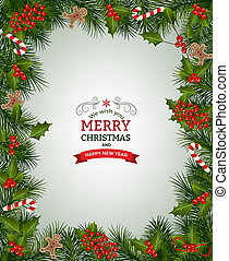 grenverk, jul, bakgrund, gran