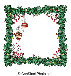 grenverk, ram, fir-tree, vektor, garlands., jul
