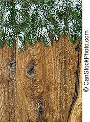 grenverk, trä, över, träd, snö, bakgrund, jul