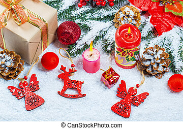 grenverk, utrymme, träd, gratis, gåva, snö, decorations., bakgrund, snöflinga, jul