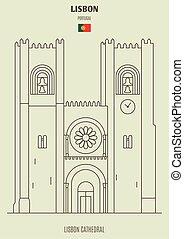 grenzstein, portugal., ikone, kathedrale, lissabon