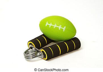 grepp, stressa, boll,  hand,  strengthener, Övning
