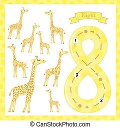 greve, cute, uddannelses, børn, aktiviteter, giraffer, spore, glimt, børn, antal, flashcard, antal, lærdom, 8, worksheets, 0-10, write., cards, preschool
