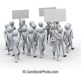 greve, protesto, 3d, pessoas