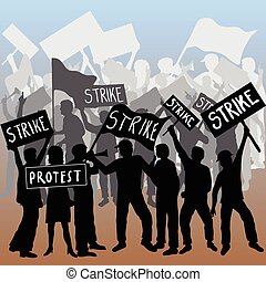 greve, trabalhadores, protesto