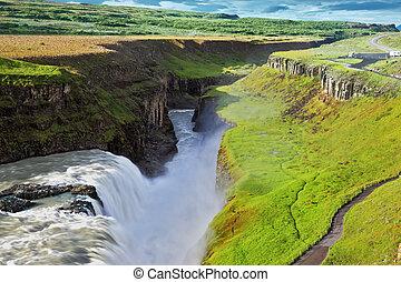 grew, norteño, verde, musgo, bancos, río