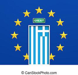 Grexit Door Illustration