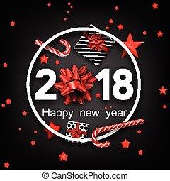 Grey 2018 happy new year card.