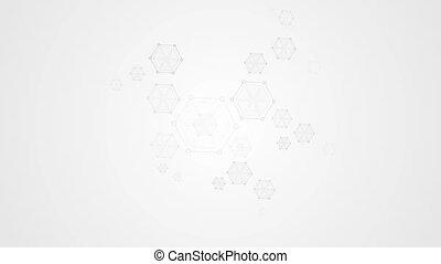 Grey abstract hexagon molecules tech video animation - Grey...