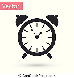 Grey Alarm clock icon isolated on white background. Wake up, get up concept. Time sign. Vector Illustration