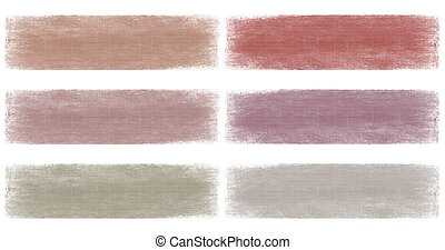 Grey and berry faded grunge banner set isolated with...