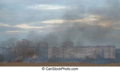 grey and black smoke covering the marsh on the Dnipro bank...