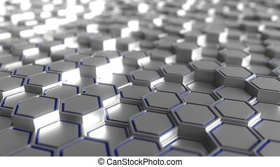 Grey and blue hexagonal prisms