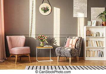 Grey and pink feminine interior - Grey and pink armchair in...