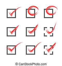 Grey and red vector grungy check marks - Set of nine...