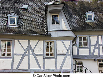 Grey and white haf-timbered house - Detail of a grey and...