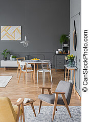 Grey and yellow apartment interior - Grey and yellow...
