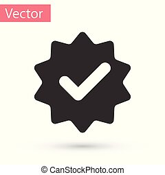 Grey Approved or certified medal with ribbons and check mark icon isolated on white background. Vector Illustration