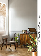 Grey armchair next to wooden cabinet in simple living room interior with plant. Real photo