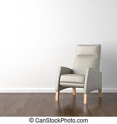 grey armchair on white