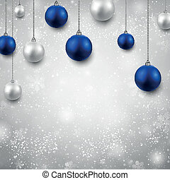 Grey background with christmas balls. - Winter grey...