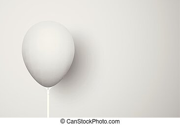 Grey background with realistic 3d balloon.