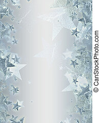 shining silver stars over grey background, abstract christmas card