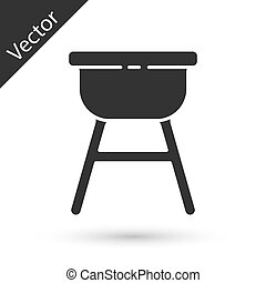 Grey Barbecue grill icon isolated on white background. BBQ grill party. Vector Illustration
