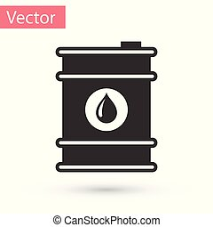 Grey Barrel oil icon isolated on white background. Vector Illustration