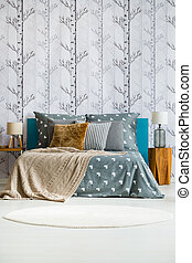 Grey bedroom with king-size bed