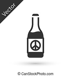 Grey Beer bottle icon isolated on white background. Vector